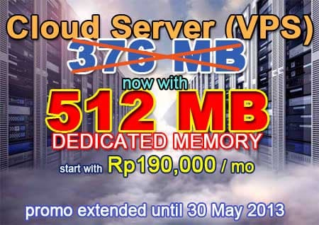 Cloud Server with dedicated memory (RAM) 512 MB only Rp190,000/month